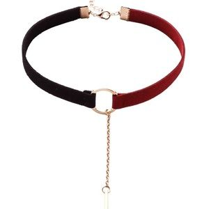 Red and Black Gold Drop Chain Choker NWT